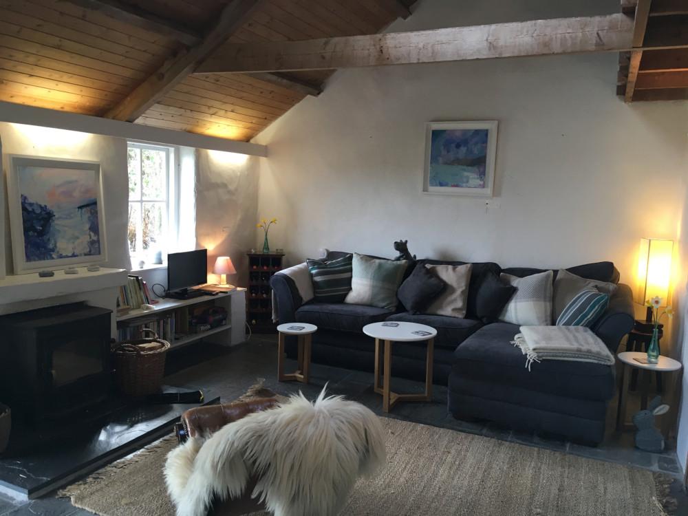 Cornish cottage open plan living room