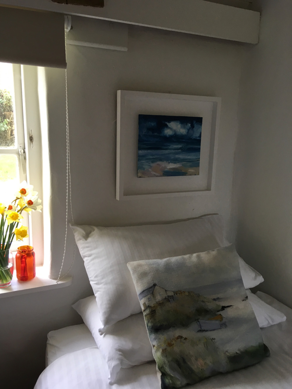 Cosy bedroom pillows in the cottage