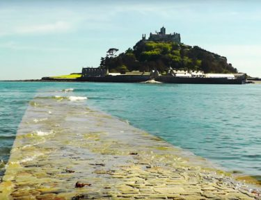 St Michaels mount walk along the causeway